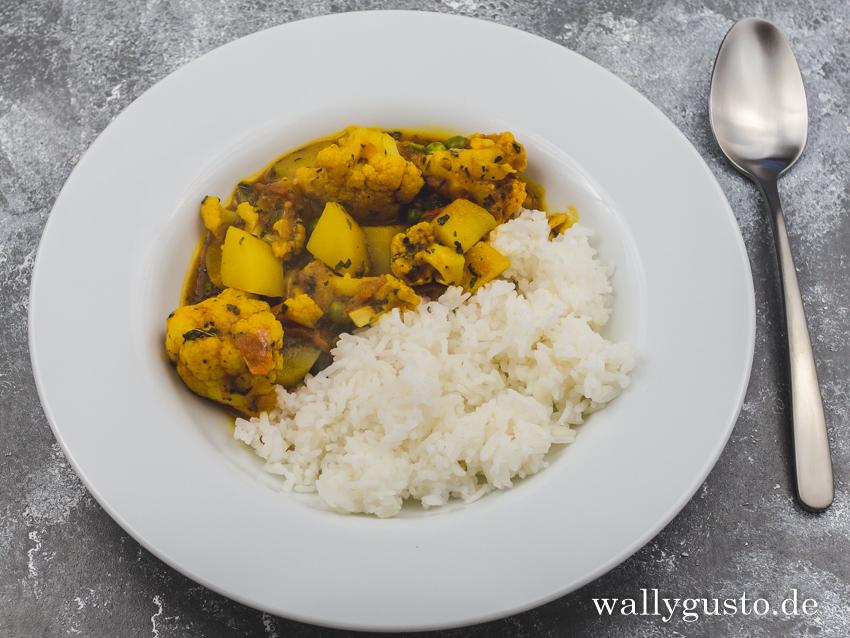 Aloo Gobi Matar - Kartoffel-Blumenkohl-Erbsen-Curry | Rezept auf www.wallygusto.de