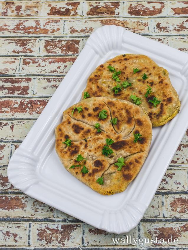 Aloo paratha – indisches Fladenbrot mit würziger Kartoffelfüllung | Rezept auf www.wallygusto.de