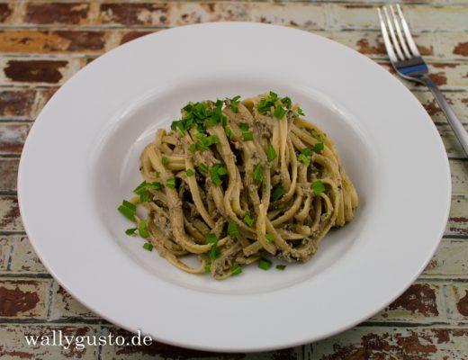 Auberginen-Pesto mit geräuchertem Ricotta & Estragon | Rezept auf www.wallygusto.de
