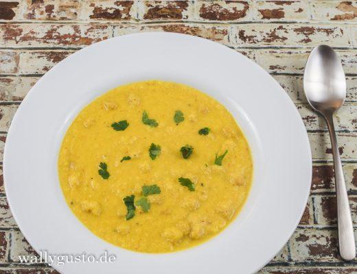 Blumenkohlsuppe mit Kichererbsen und Kokosmilch | Rezept auf www.wallygusto.de