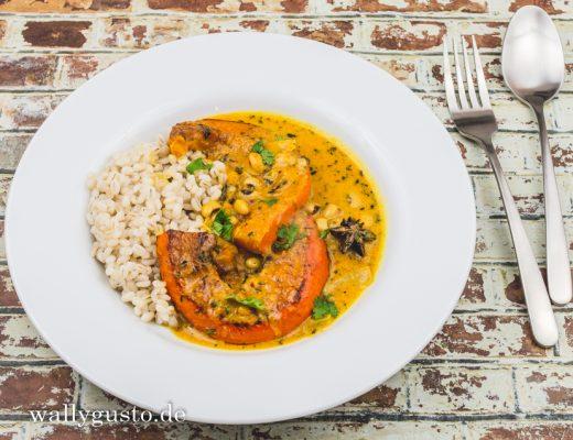 Curry mit Ofenkürbis und Schwarzaugenbohnen | Rezept auf www.wallygusto.de