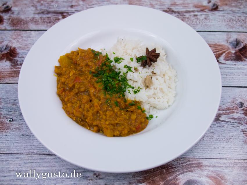 Dal mit geräucherten Auberginen - Dal with smoked Eggplant