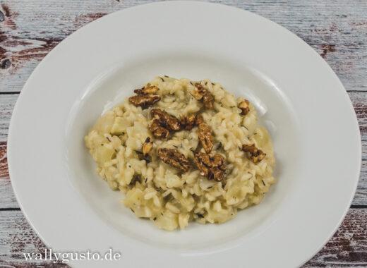 Fenchel-Risotto mit Gorgonzola und in Honig karamellisierten Walnüssen | Rezept auf www.wallygusto.de