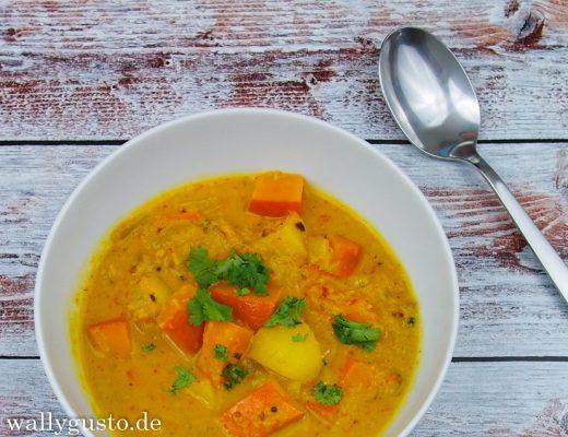 Indisches Kürbis-Kartoffel Curry | Rezept auf www.wallygusto.de