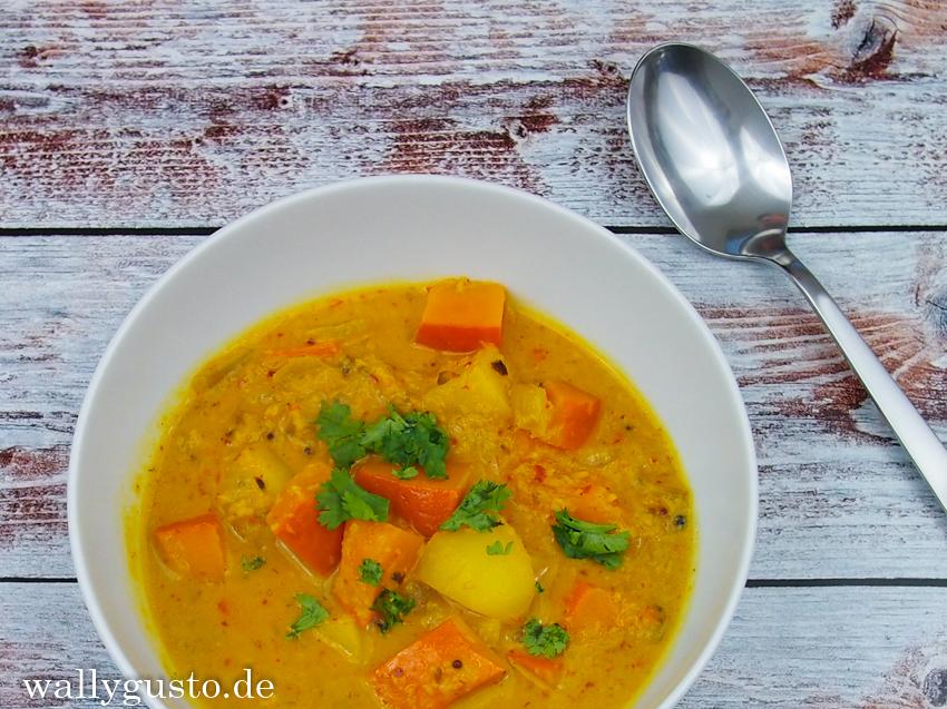 Indisches Kürbis Kartoffel Curry Wallygusto