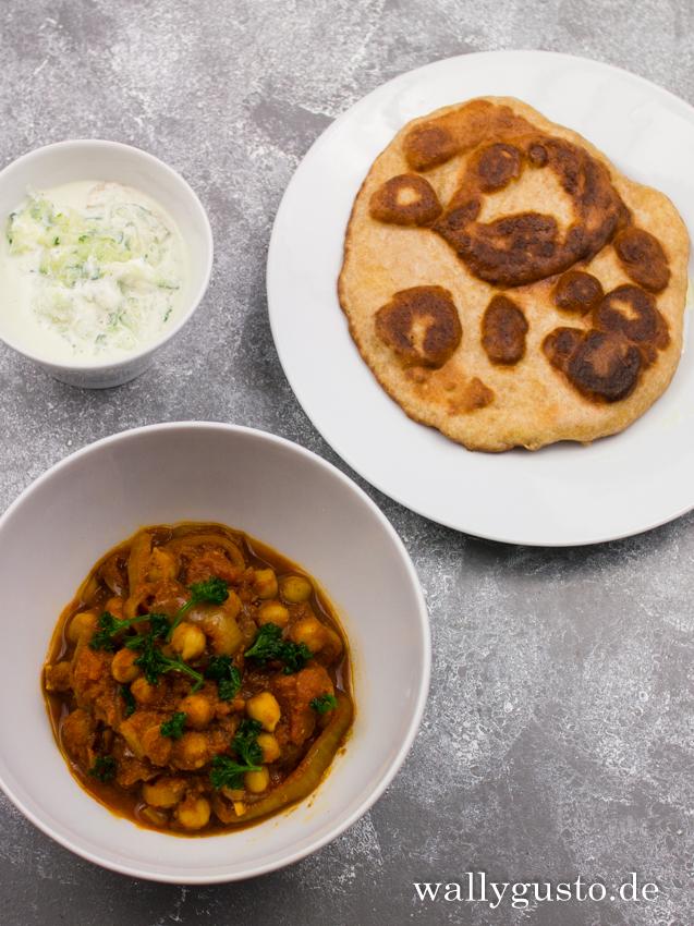 Indisches Kichererbsencurry mit Raita | Rezept auf www.wallygusto.de