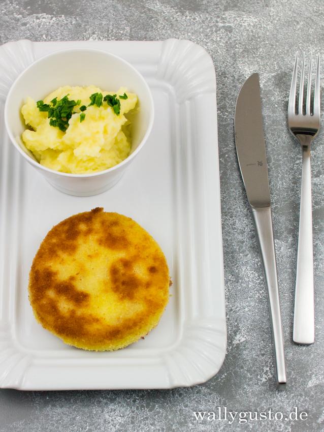 Kohlrabischnitzel mit Kartoffelbrei