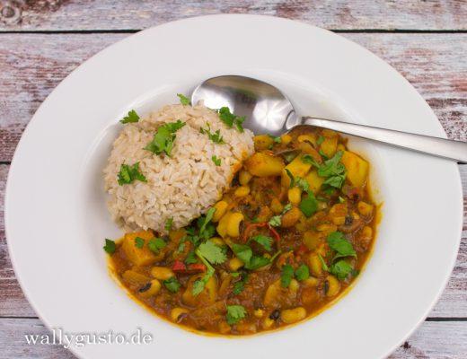 Lobia Aloo Masala Curry - Schwarzaugenbohnen-Kartoffel-Curry | Rezept auf www.wallygusto.de