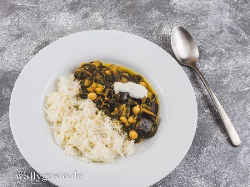 Palak baingan aur channa - Spinat mit Auberginen, Tomaten und Kichererbsen   Rezept auf www.wallygusto.de