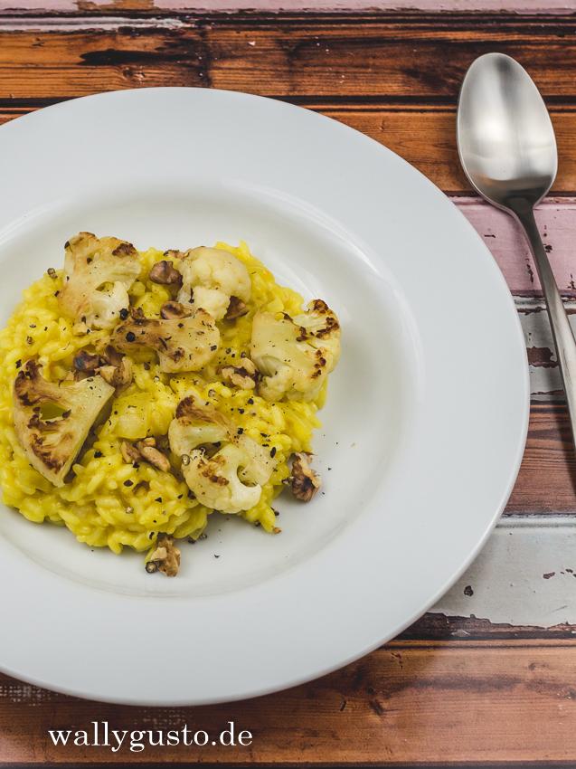 Risotto mit angebratenem Blumenkohl und Salzzitrone | Rezept auf www.wallygusto.de